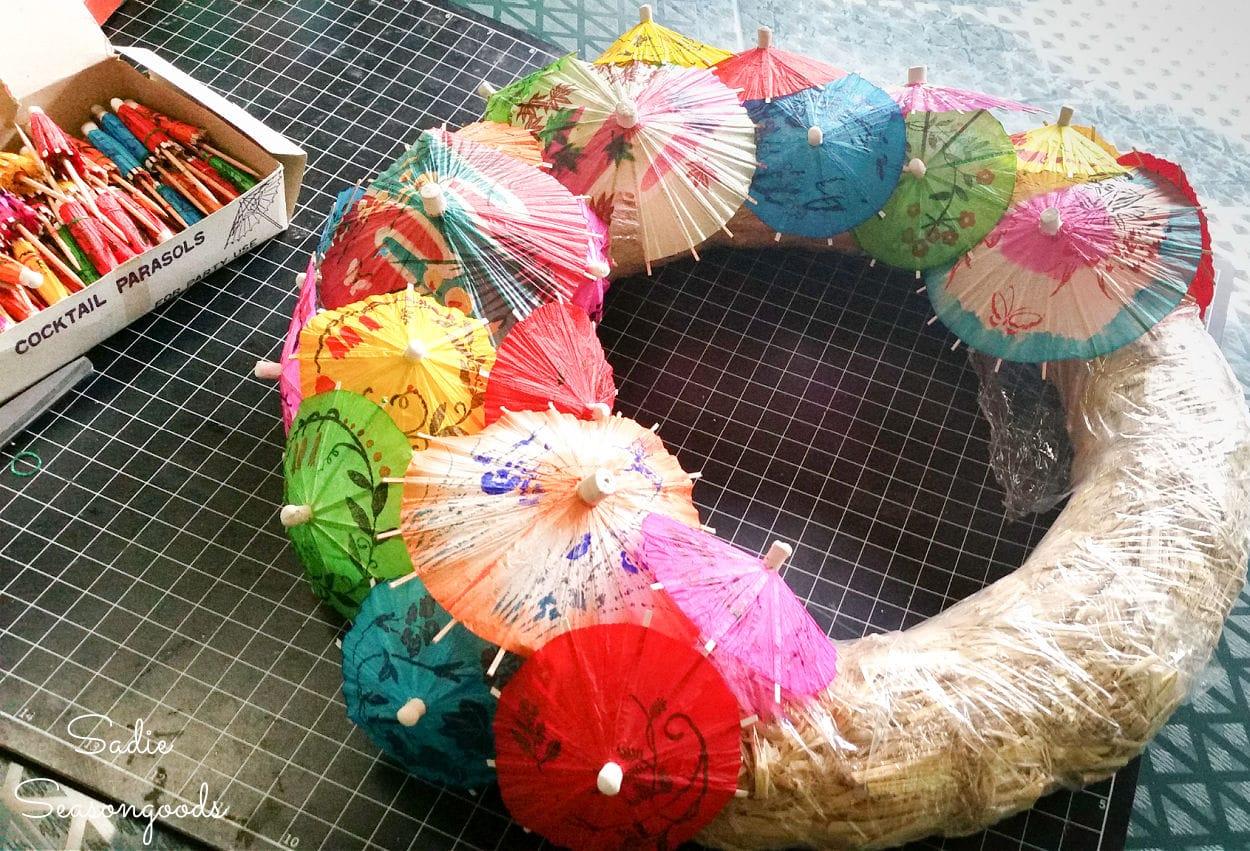 making an umbrella wreath for summer