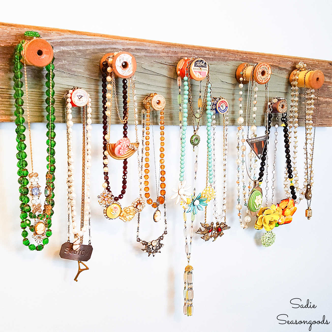 Wooden Necklace Holder with Vintage Thread Spools