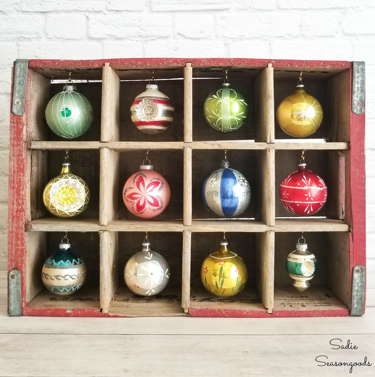 Shiny Brite Ornaments in a Bottle Crate for Vintage Christmas Decorations