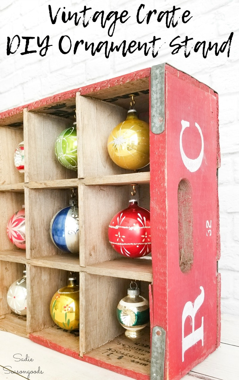 Displaying ornaments in a wooden bottle crate