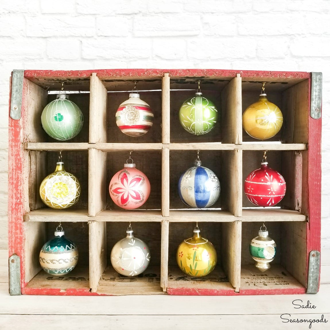 Wooden Bottle Crate as a Wooden Ornament Stand