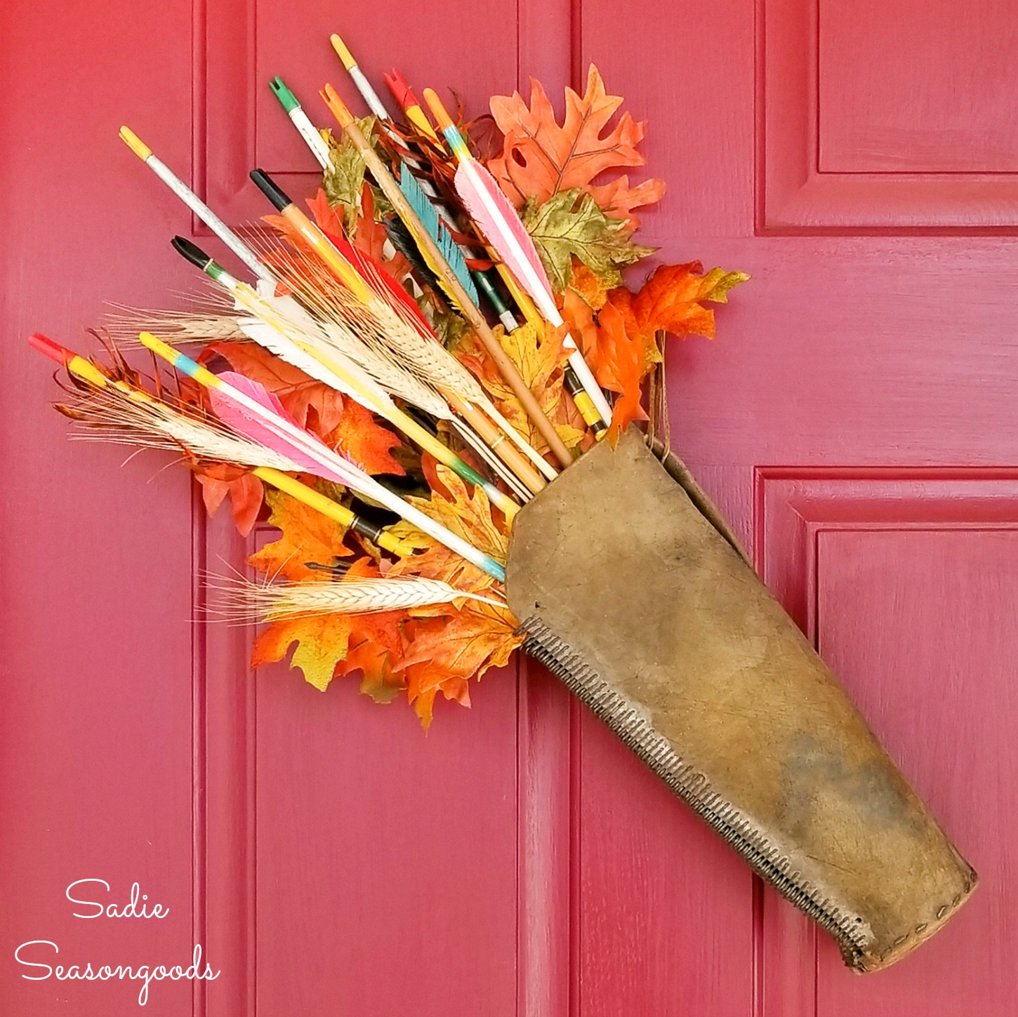 Leather Arrow Quiver as a Harvest Wreath