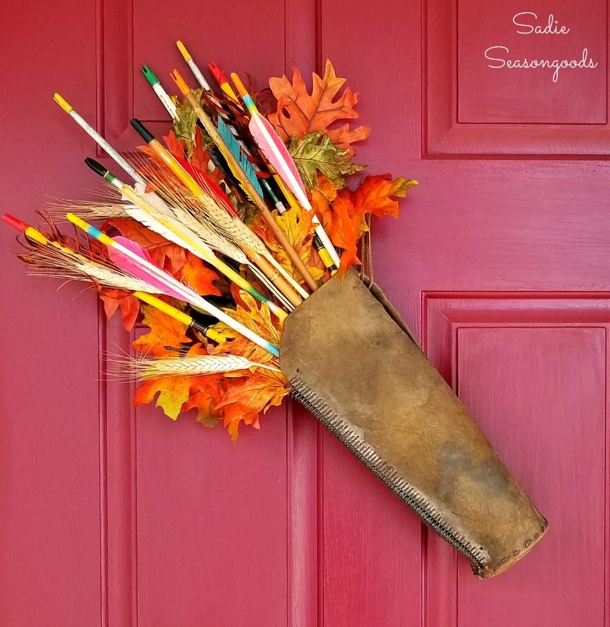 Autumn Wreath and Harvest Decor with Leather Quiver and Wooden Arrows