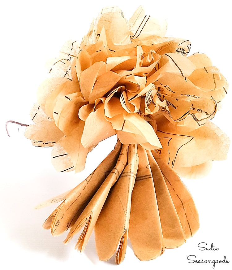Making tissue paper flowers with old sewing patterns