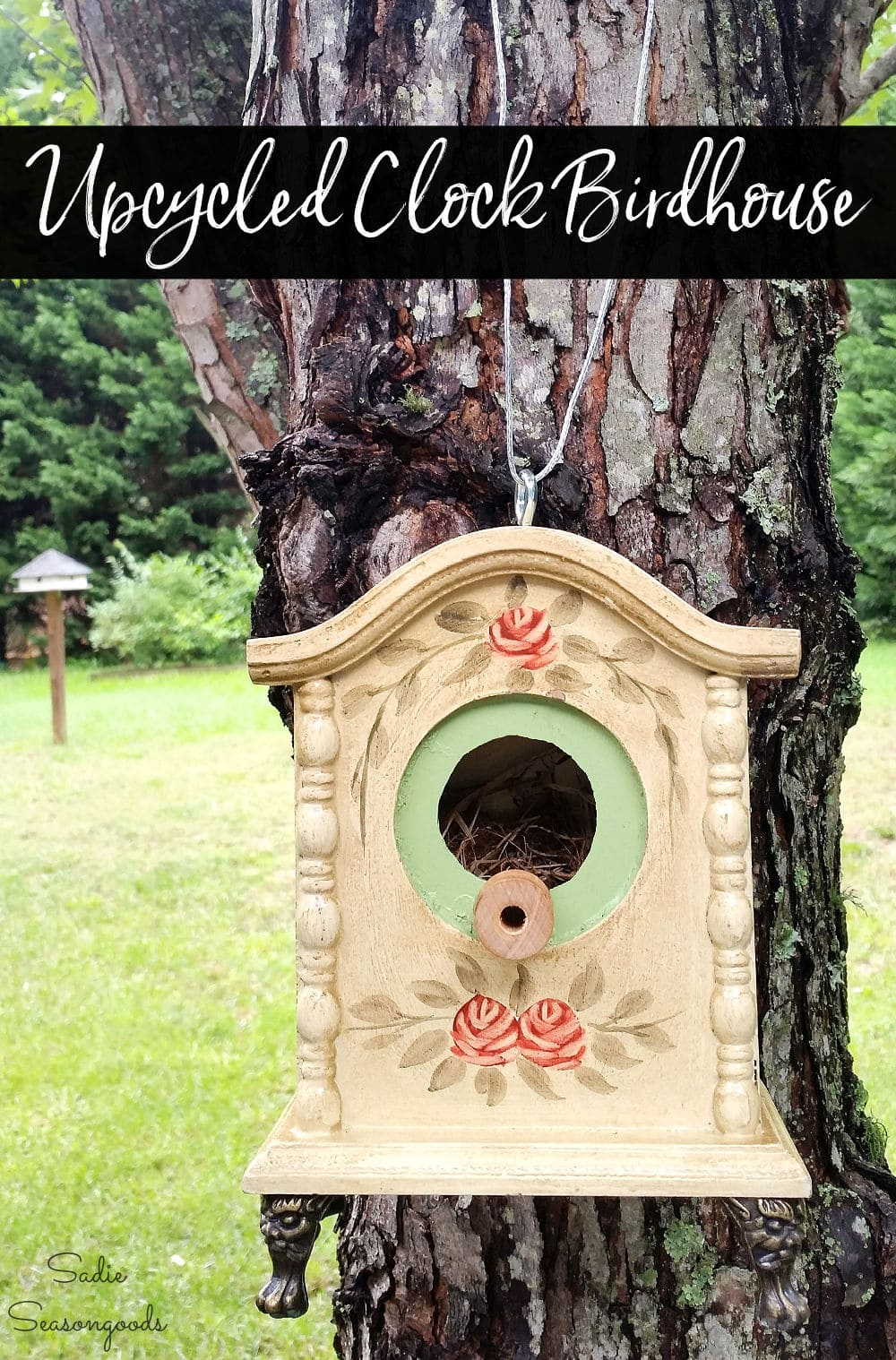 Repurposing a table clock into an upcycled birdhouse