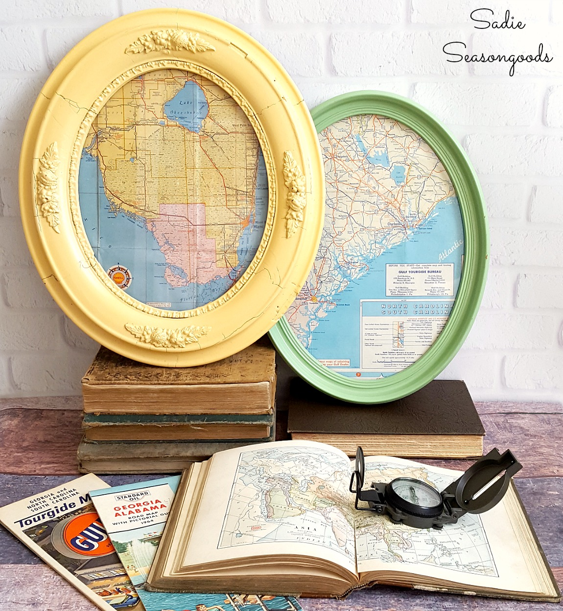 Map Wall Art with Oval Picture Frames and Antique Maps