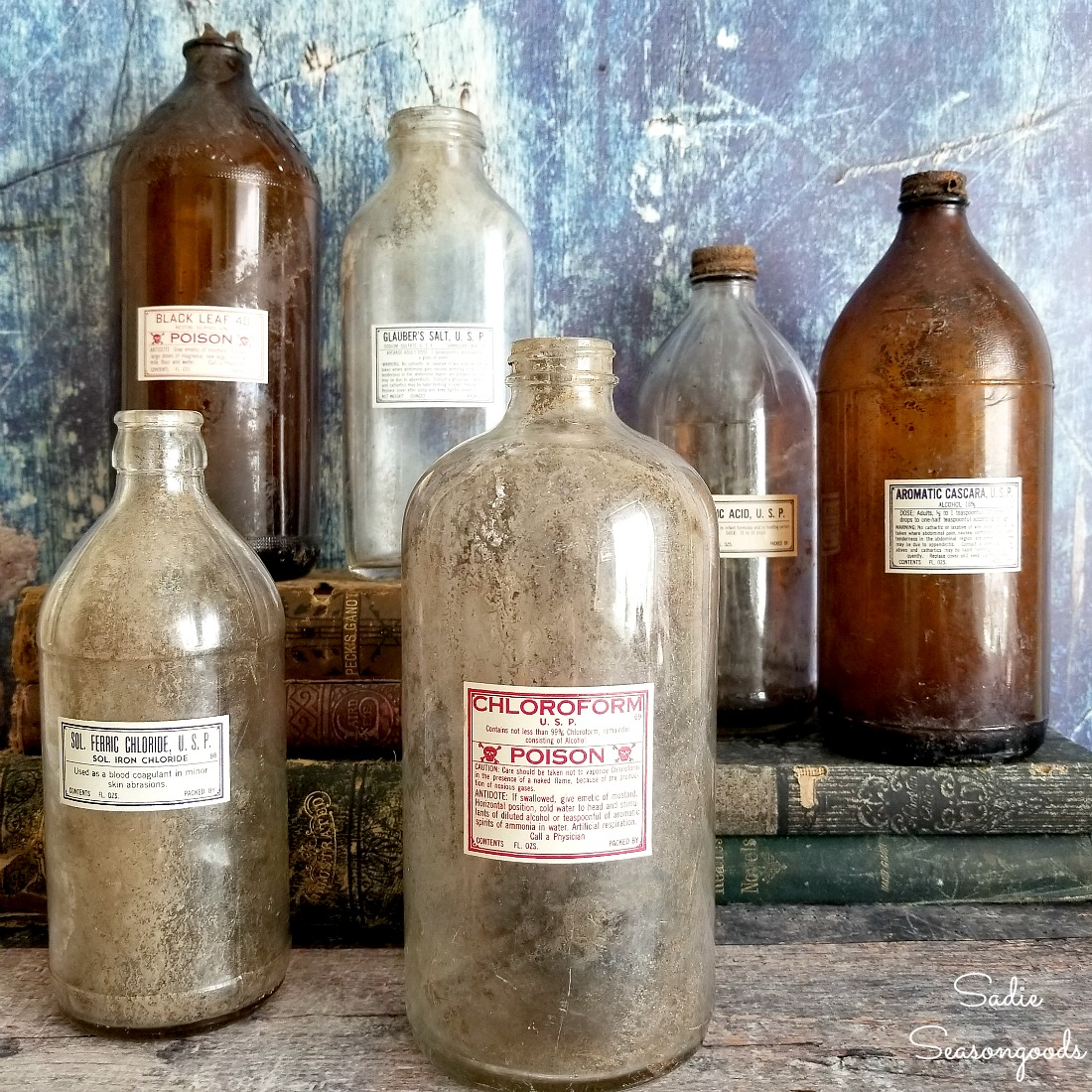 Poison Bottles / Glass Apothecary Jars as Vintage Halloween Decorations