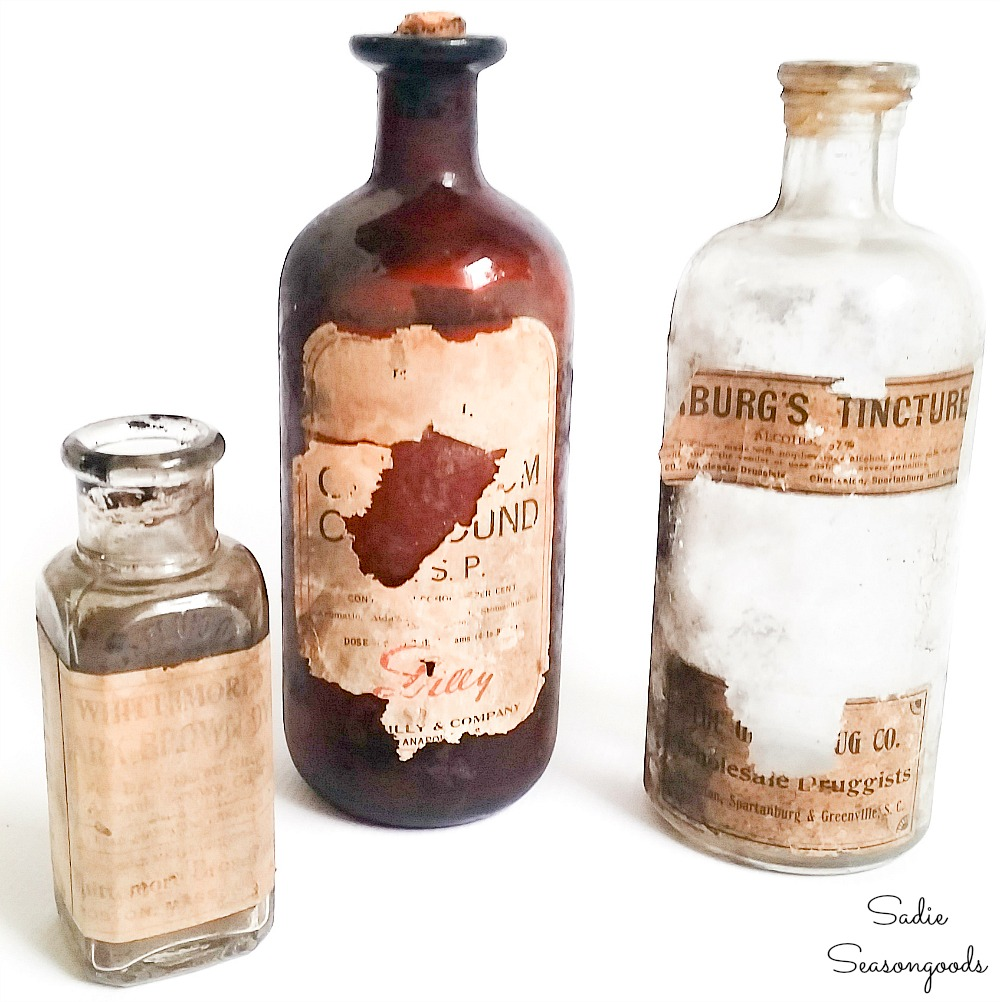 Vintage medicine bottles with old labels