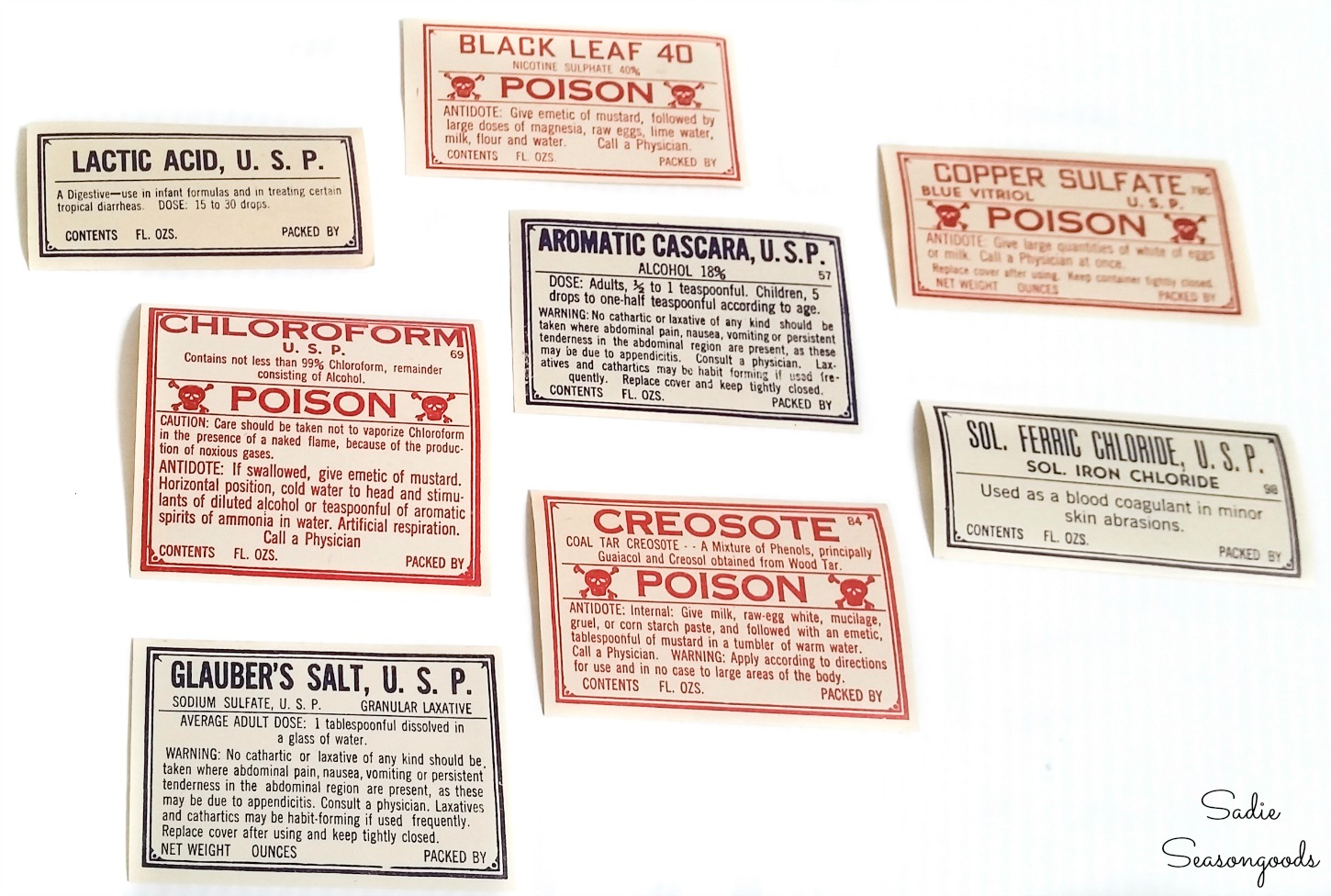 Vintage pharmacy labels to be used as Halloween bottle labels