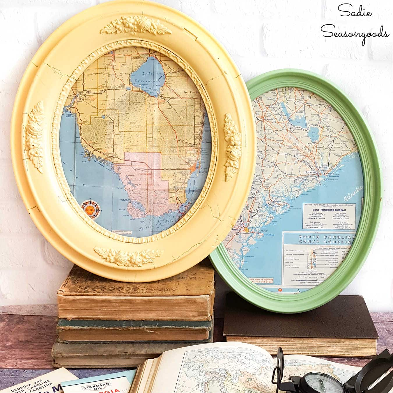 Framing Maps in Antique Oval Picture Frames