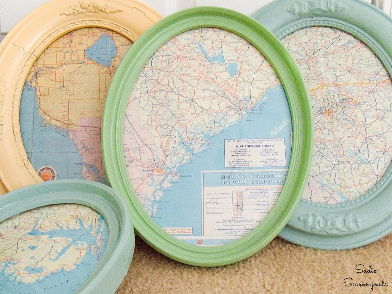 framing the vintage road maps