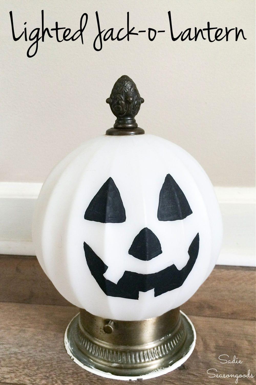 lighted jack o lantern and light up pumpkin