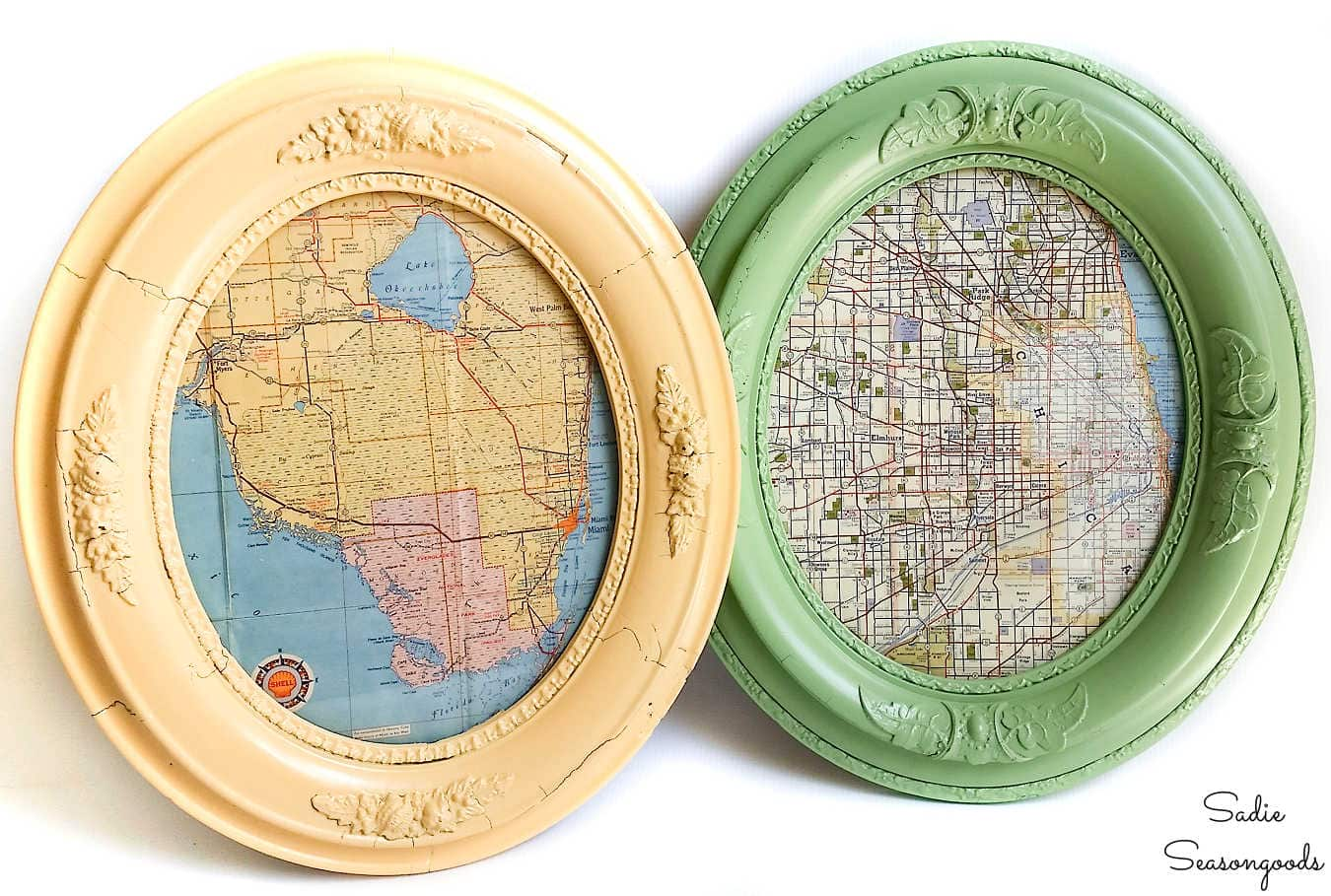 map wall decor in oval frames