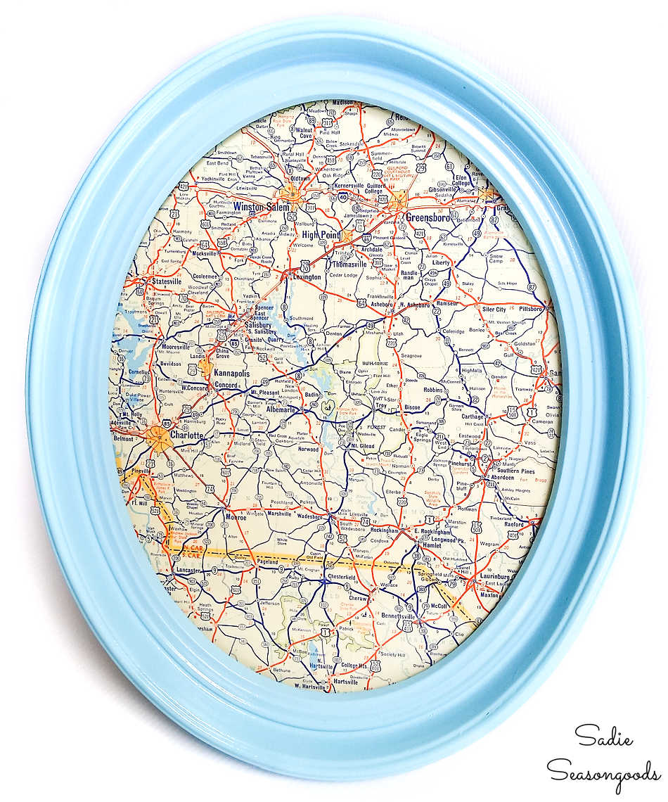 oval picture frame for map wall decor