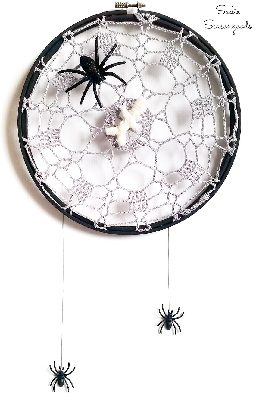 spider web doily and spider decor