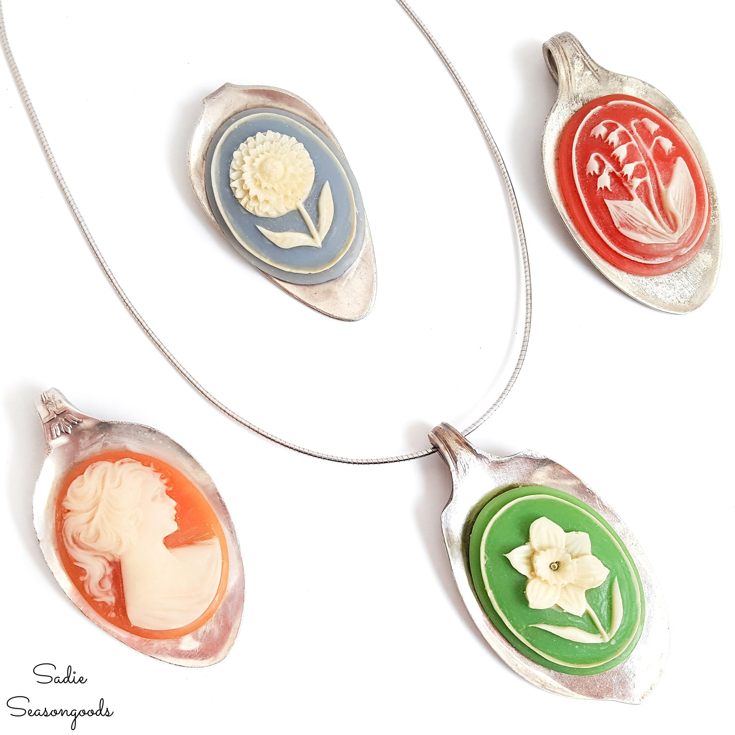 Spoon Jewelry with Vintage Cameos