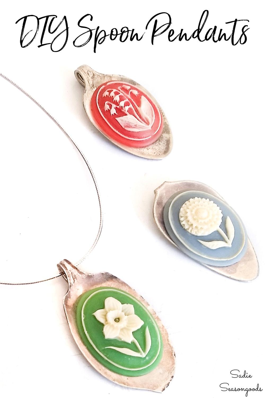 Spoon necklaces with vintage cameos