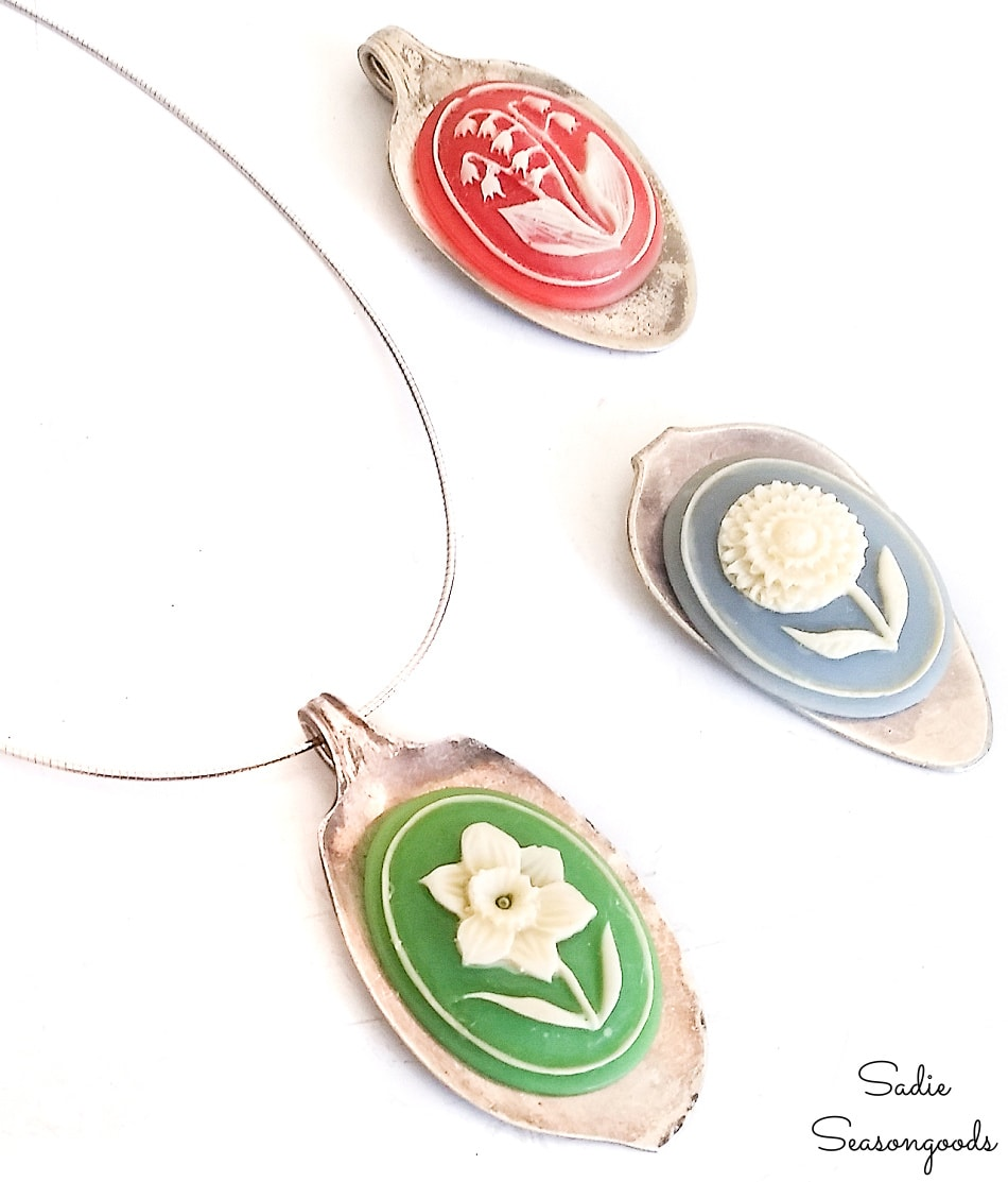 Vintage cameo necklace with an old spoon