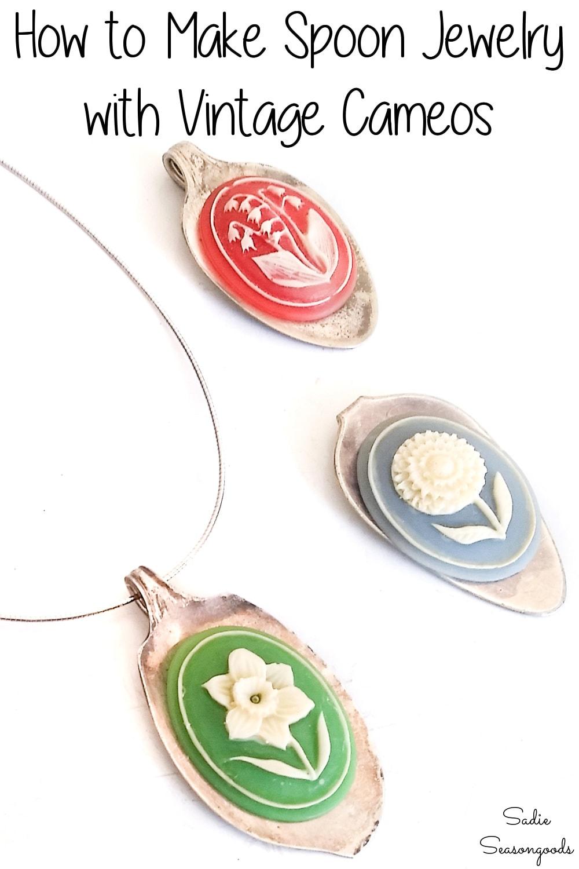 Vintage cameos on spoon pendants