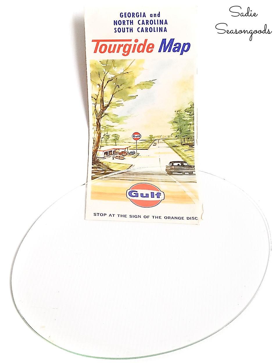 vintage road map for framing