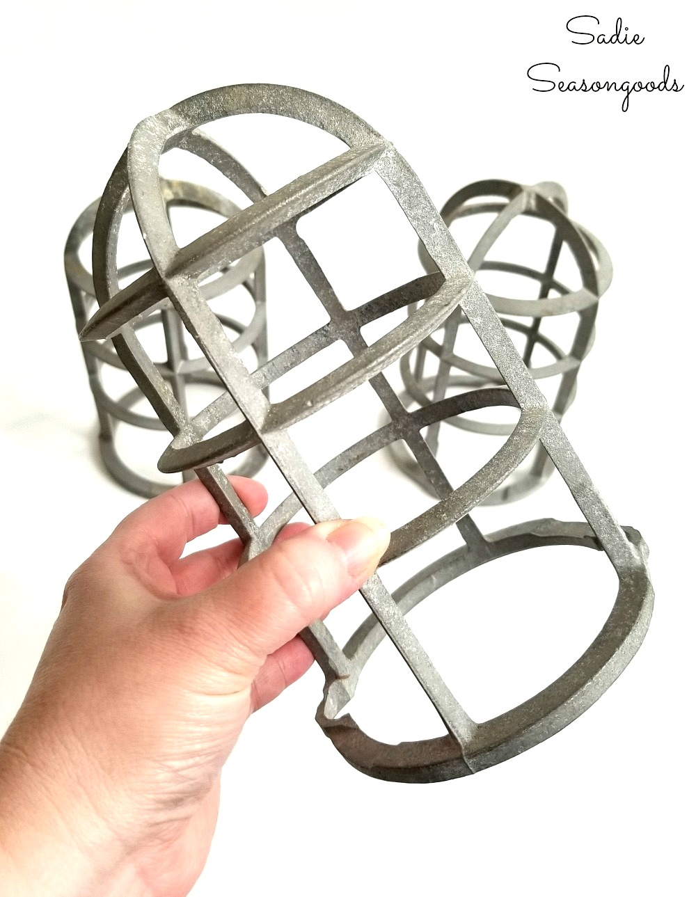 Light cage or light bulb cage to be upcycled and repurposed into a Christmas lantern