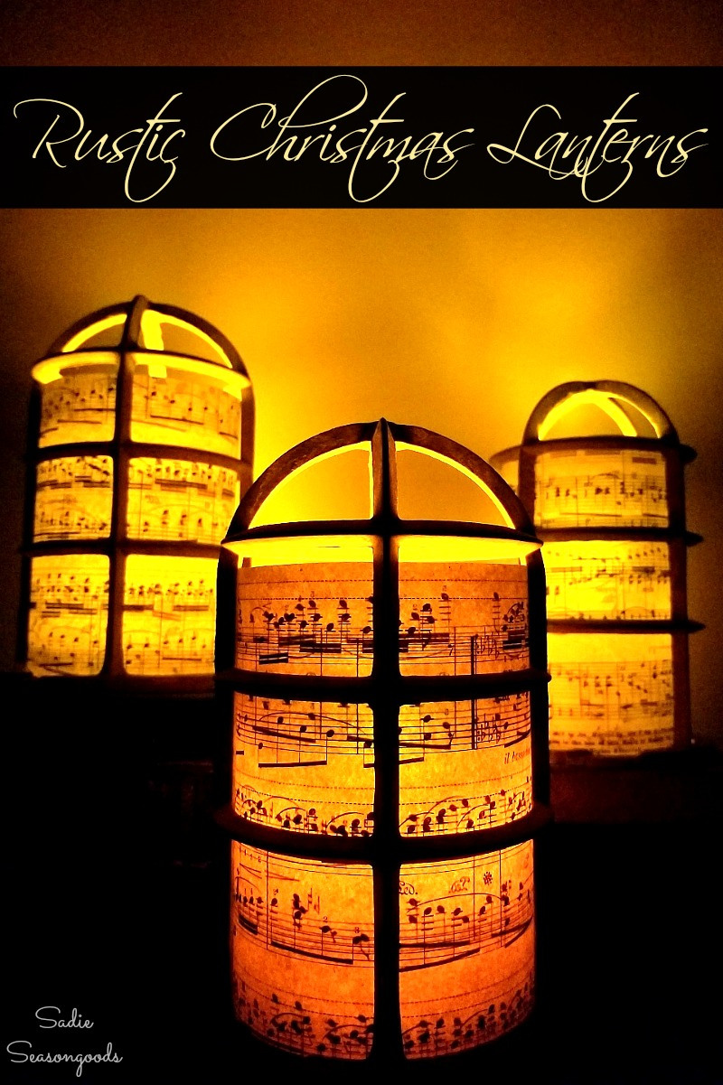 Upcycling the light bulb cages and vintage sheet music into the Christmas luminaries for rustic decor