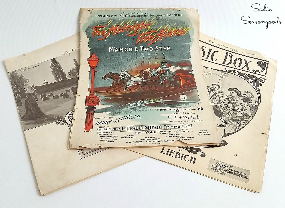 Vintage sheet music or old sheet music to place inside a light bulb cage for rustic Christmas decor