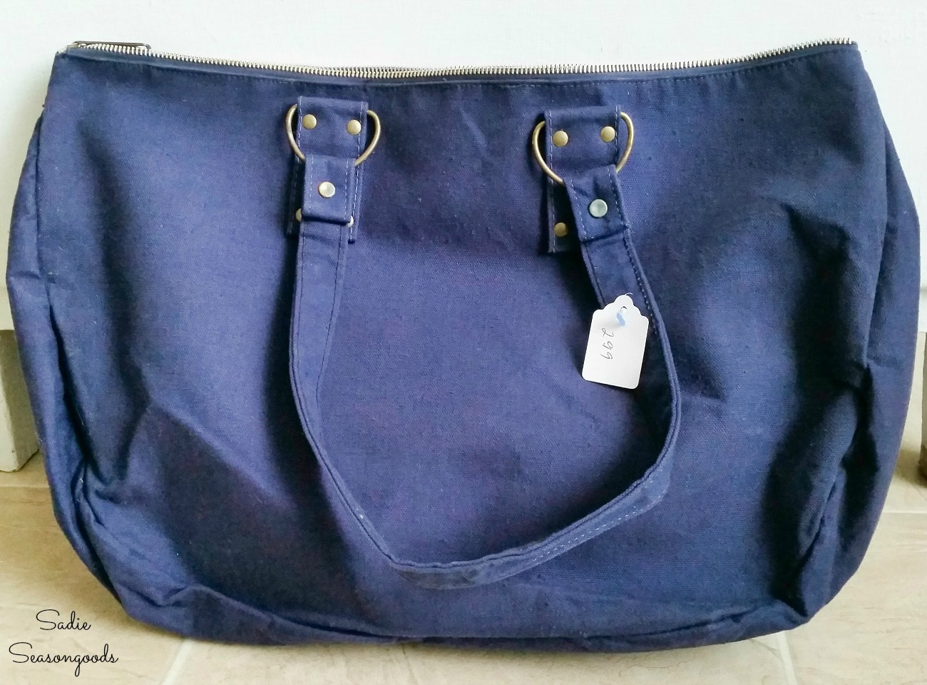 Blue canvas bag from the thrift store