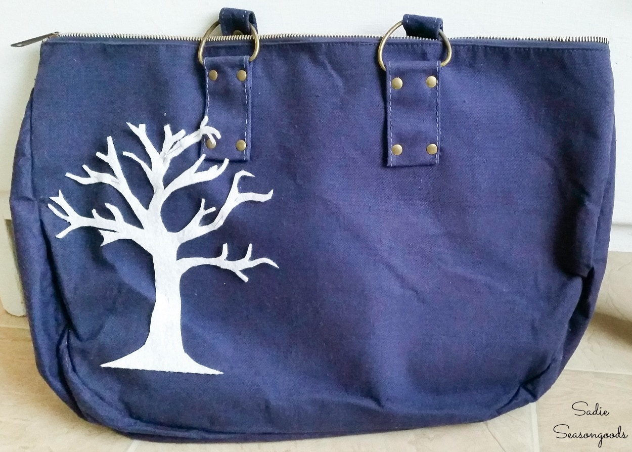 Decorating a tote bag from the thrift store