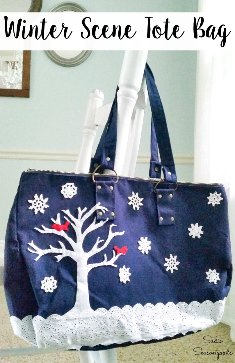 Decorating a tote bag with snowflake doilies