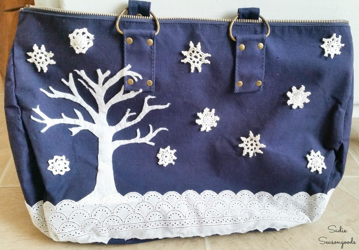 Mini doilies as snowflakes in a snowy scene