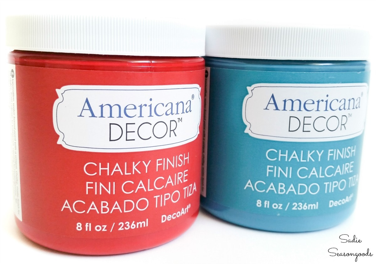 Americana Decor chalky finish paint for upcycled Christmas ornaments
