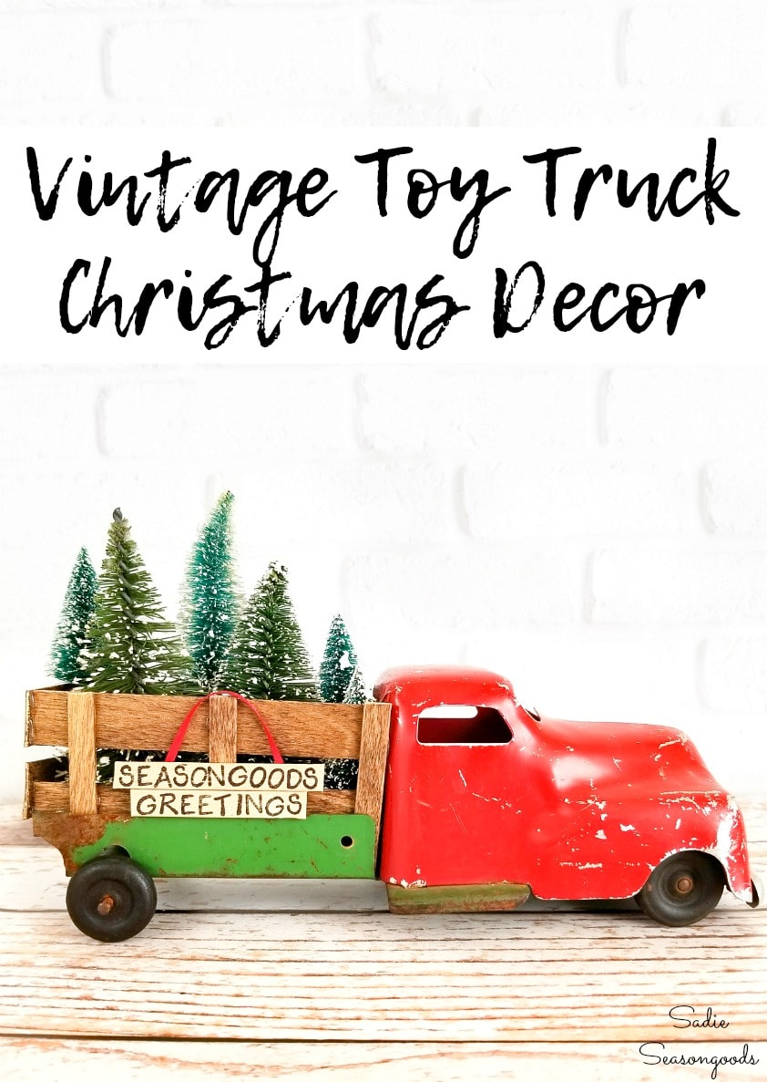 Christmas truck decor with popsicle sticks