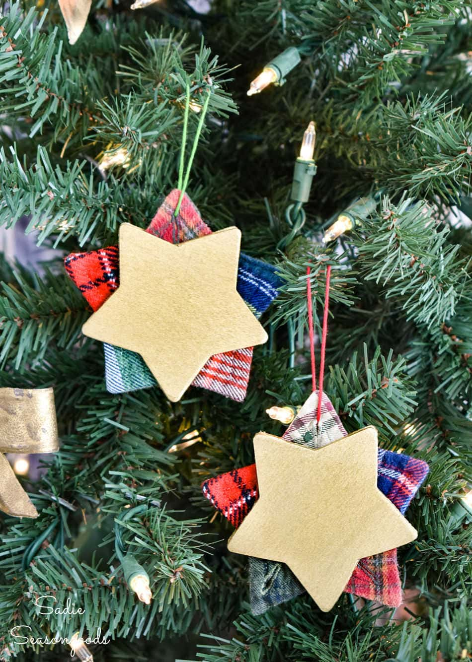 diy christmas ornaments from flannel shirts