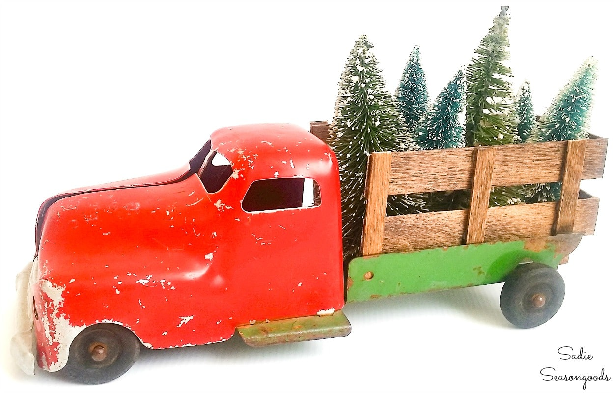 DIY version of red truck with Christmas tree