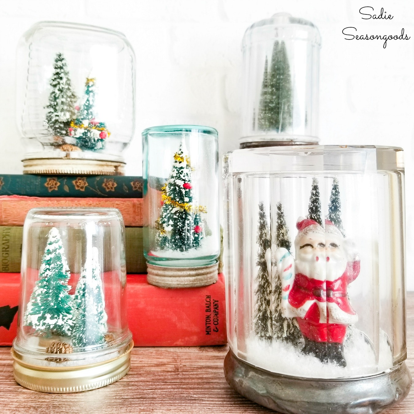 DIY Waterless Snow Globe in a Vintage Glass Jar