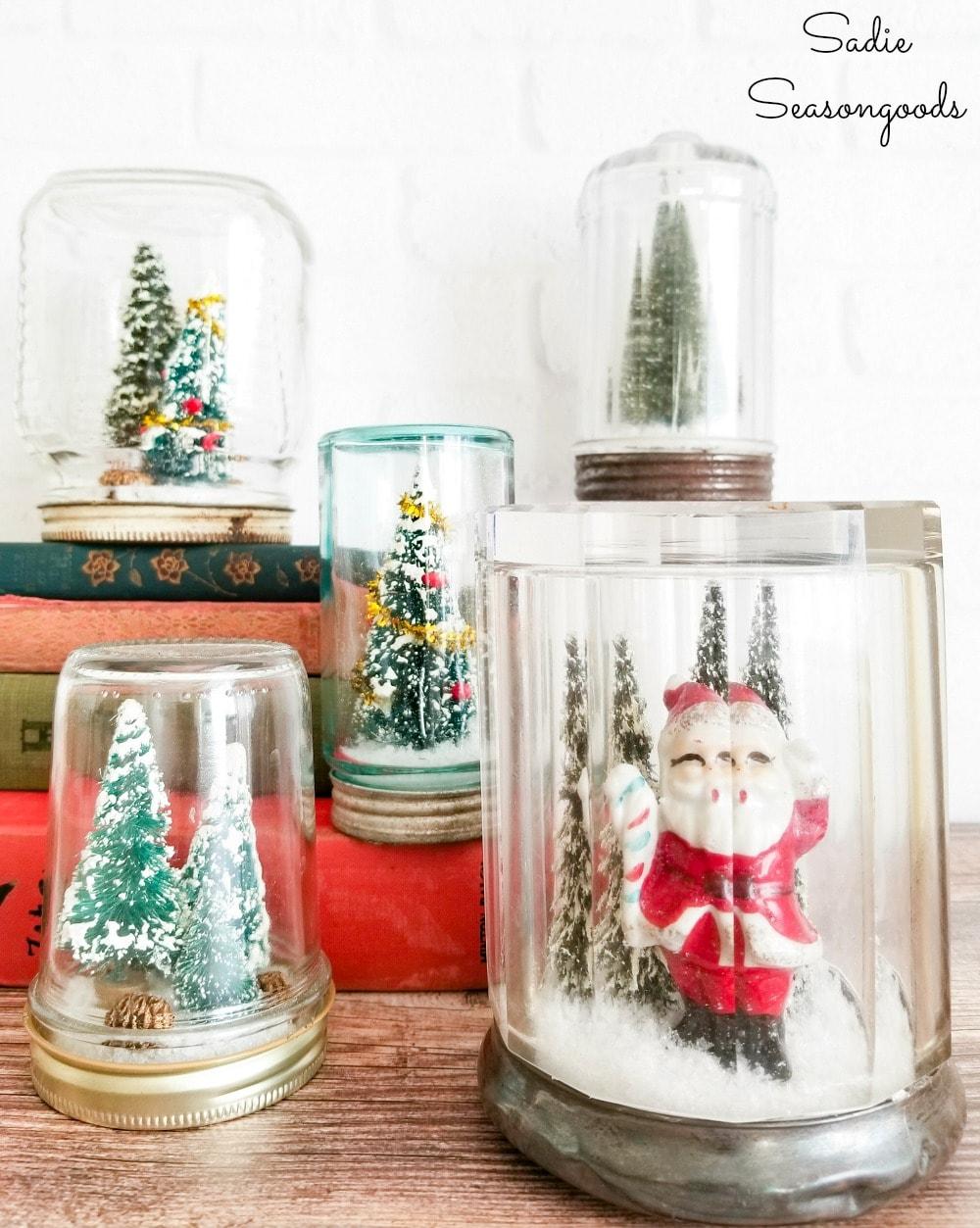 DIY waterless snow globe with vintage Christmas decorations