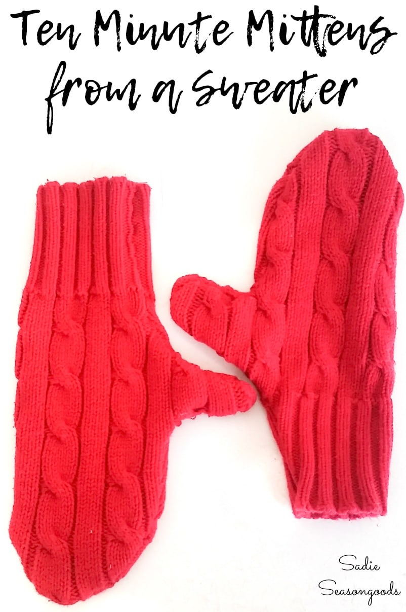 Recycling a sweater to make mittens