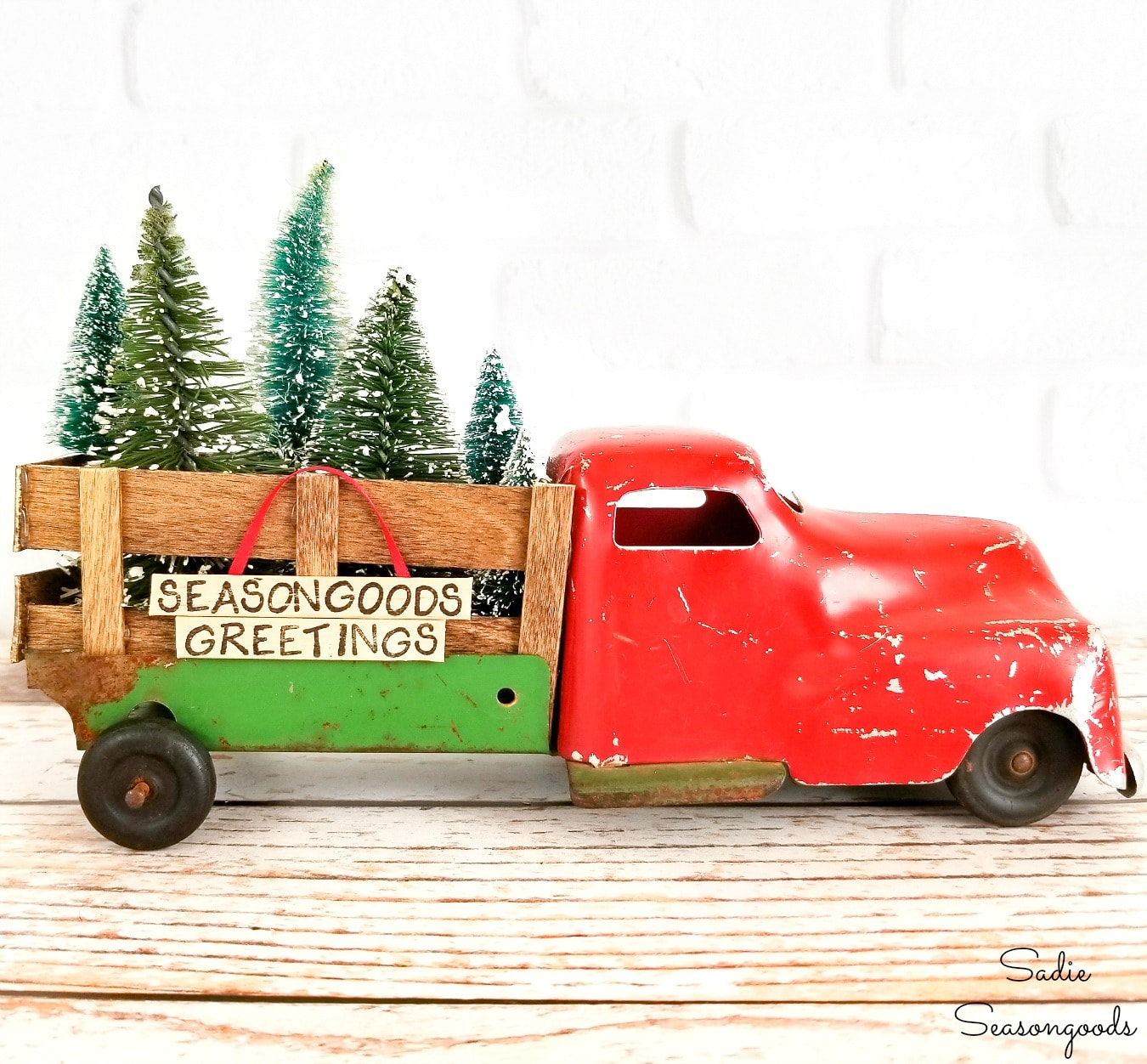 Upcycling a Toy Truck as Christmas Truck Decor