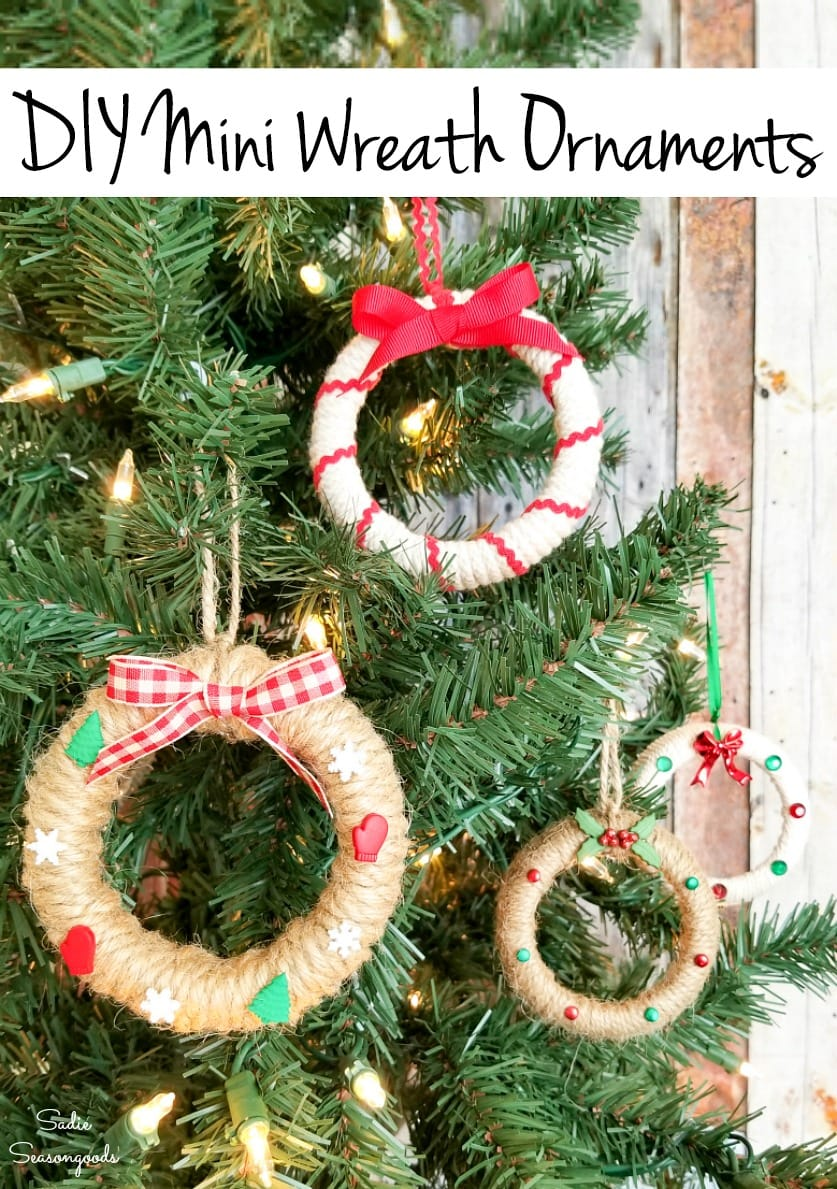 Upcycling the mason jar bands into Christmas wreath ornaments