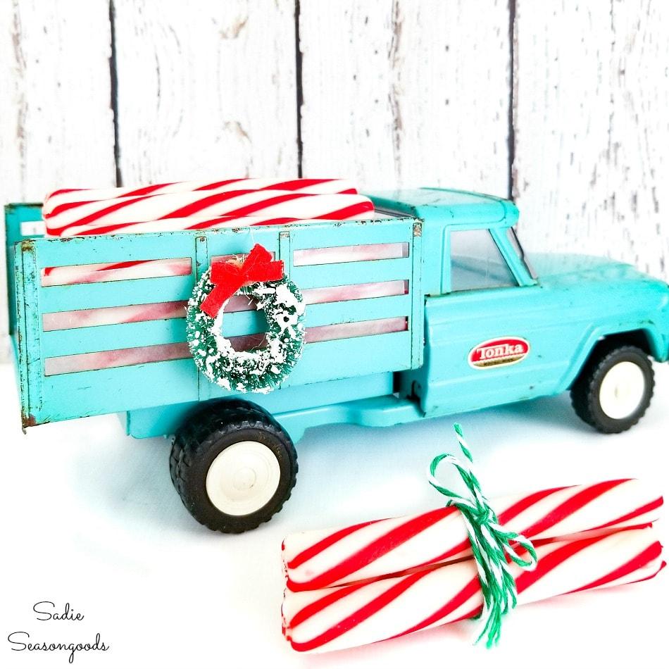 Vintage aqua truck as Christmas decor