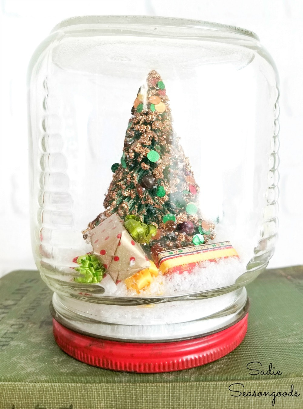 Vintage Christmas decorations in a waterless snow globe