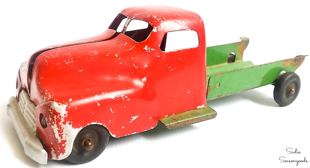 Vintage toy truck for Christmas decor