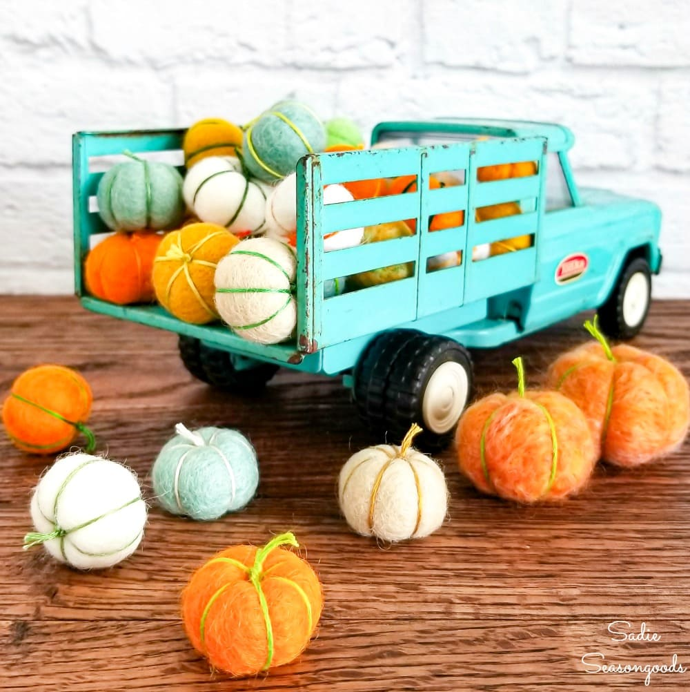 Vintage truck decor with felted wool pumpkins