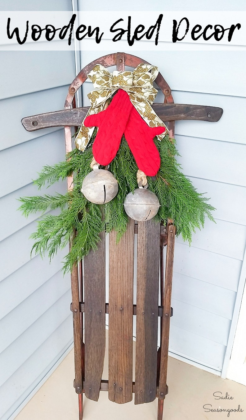 Wooden Sled decor for front porch Christmas decorations