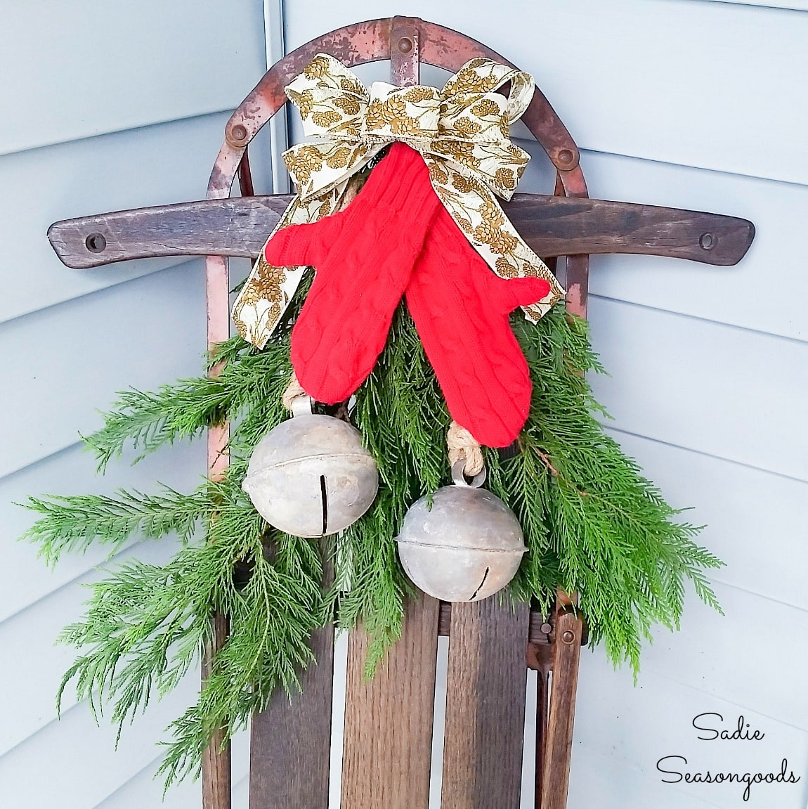 Wooden Sled Decor with Sweater Mittens