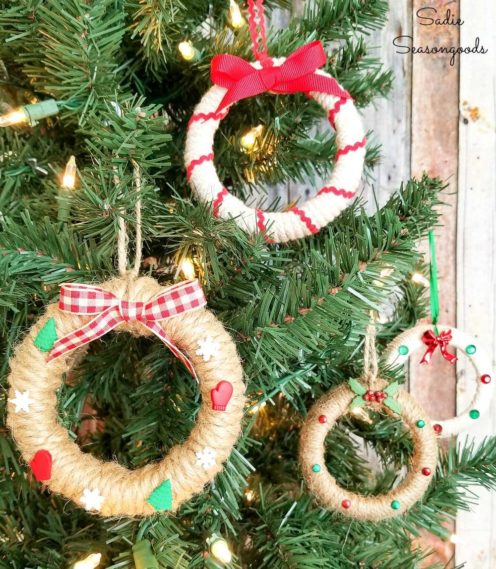 Wreath ornaments from canning jar lids