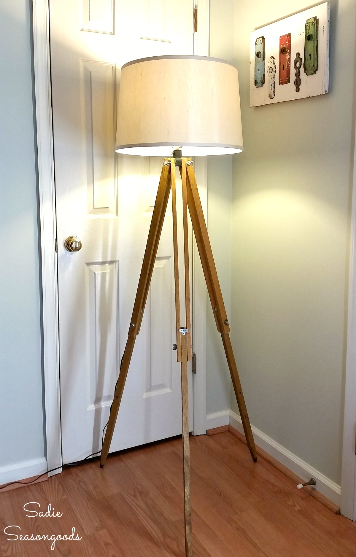 Industrial Floor Lamp from a Surveyors Tripod