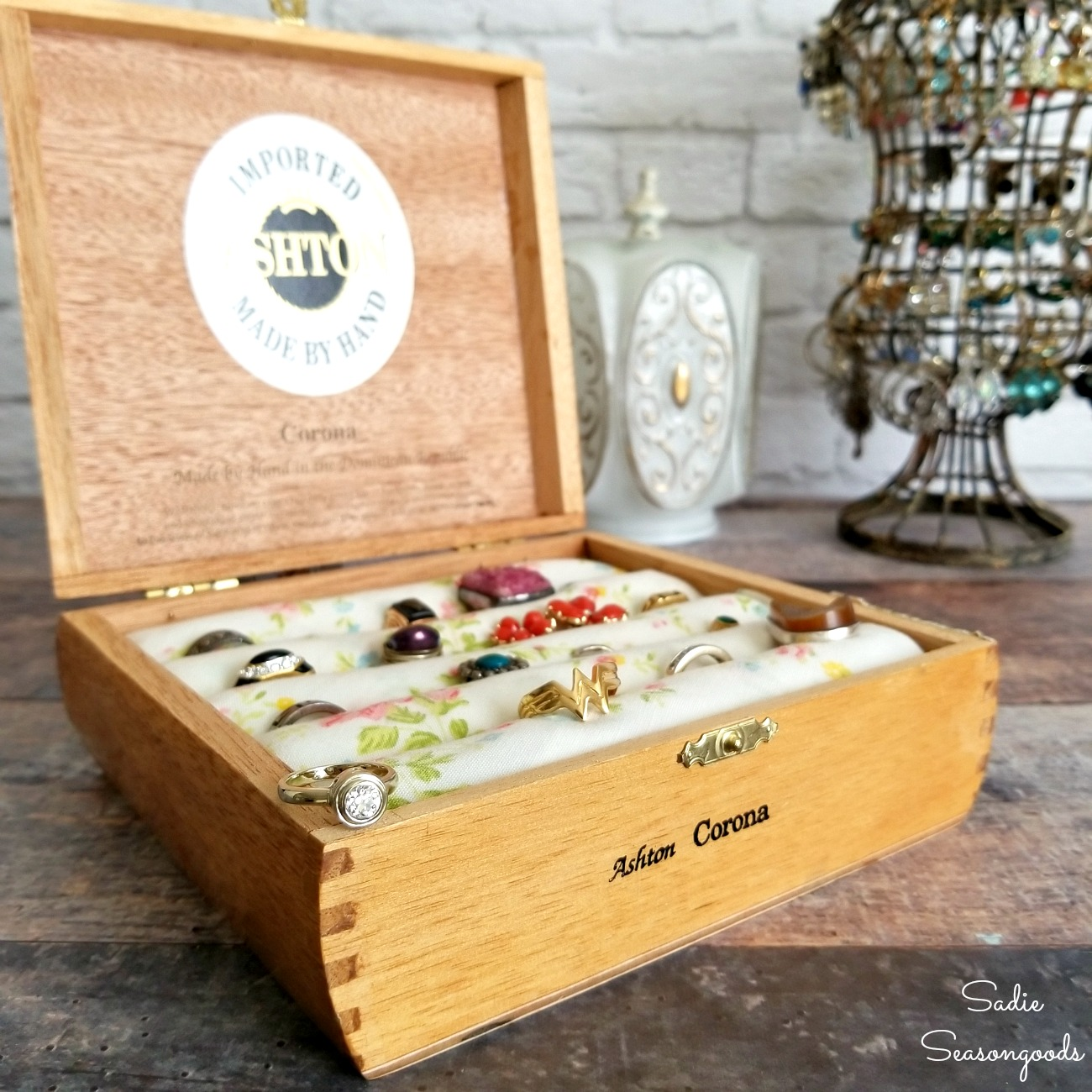Ring holder made by upcycling a cigar box or vintage cigar box into a jewelry chest or wooden jewelry box