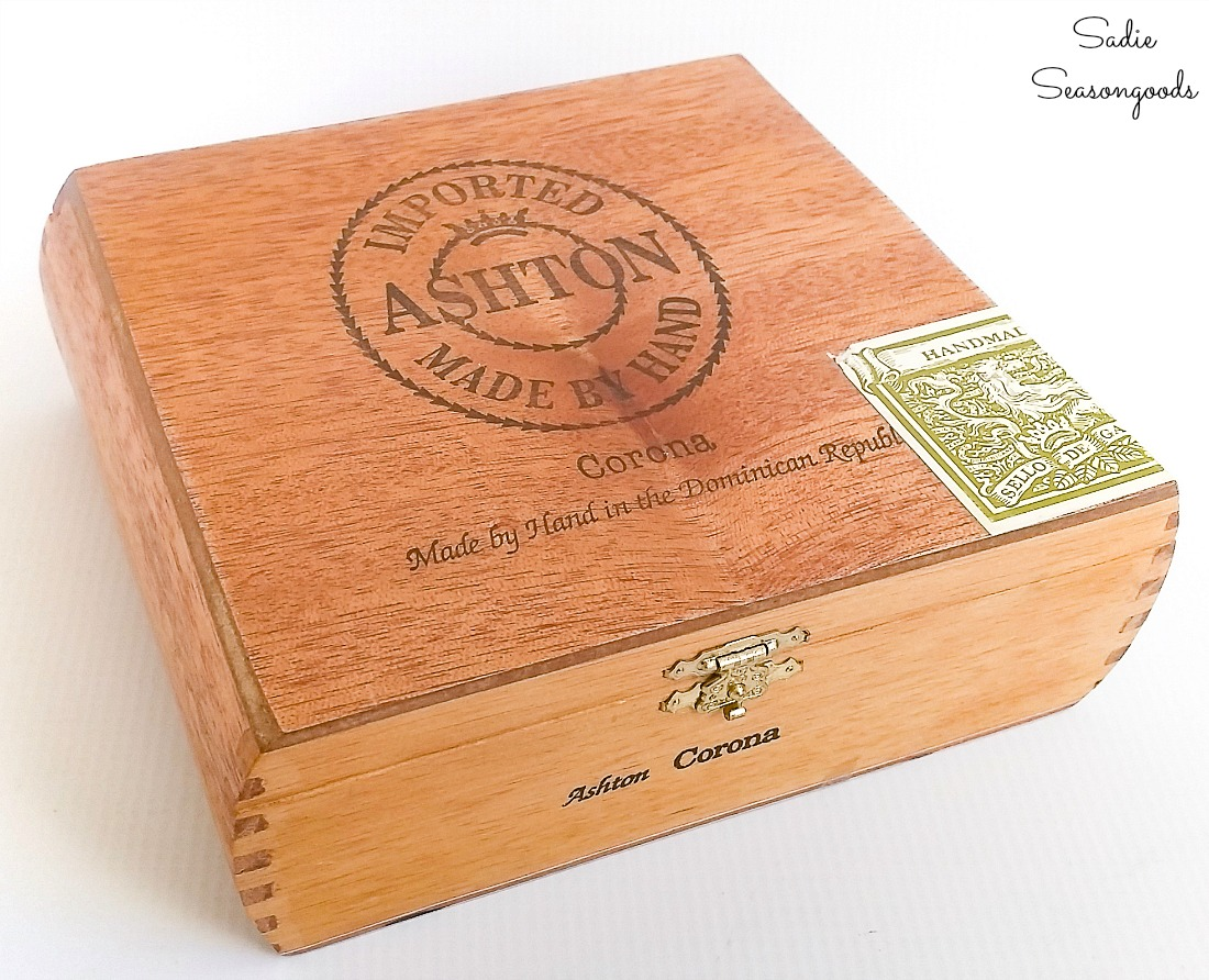 Vintage cigar box for upcycling idea as a DIY ring holder